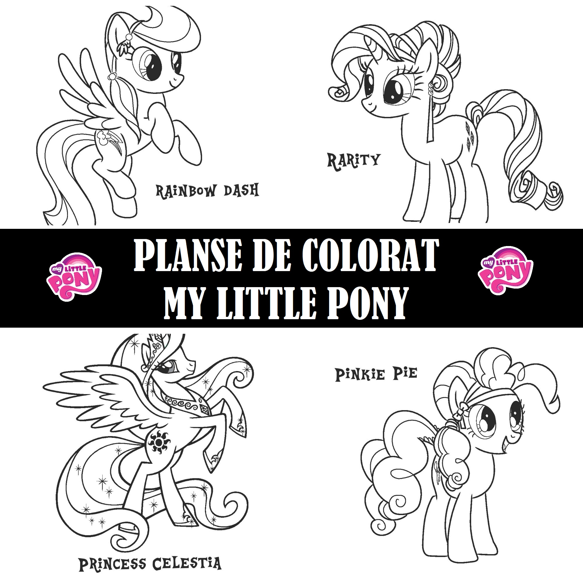 Planse De Colorat Cu Micii Ponei My Little Pony on princess celestia and twilight sparkle