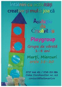 Sesiuni de playgroup pentru copii de 1-4 ani si parinti