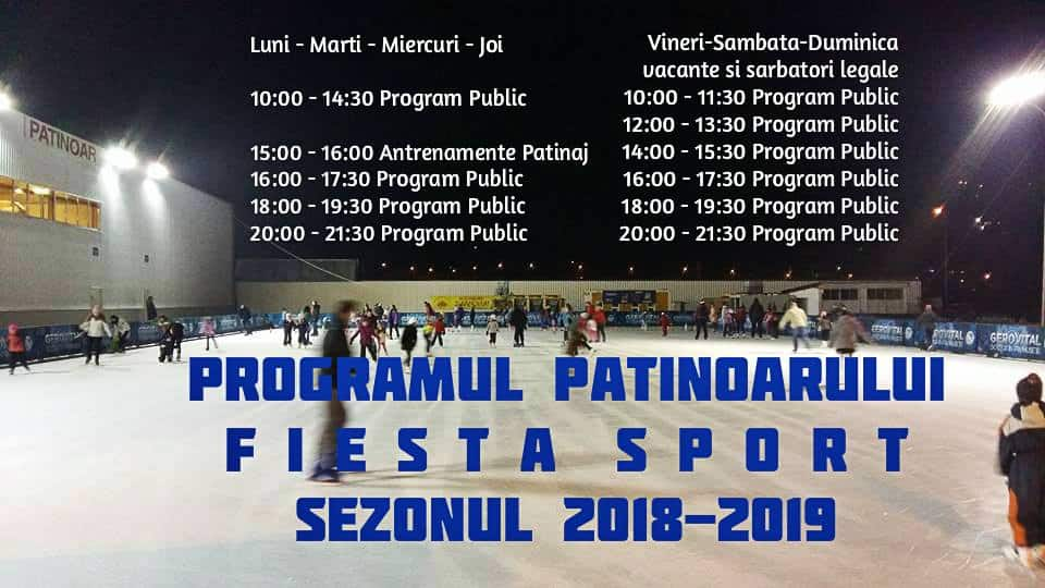 Patinoarul Fiesta Sport program 2018-2019
