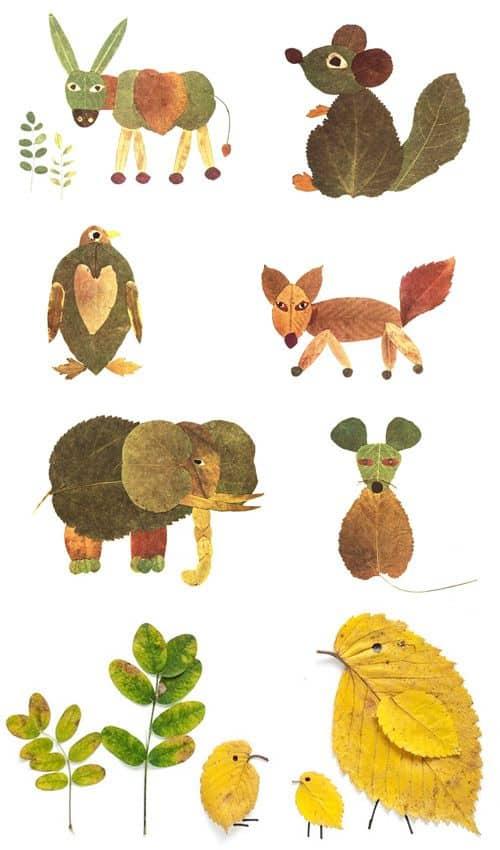 activitate cu frunze animale din frunze