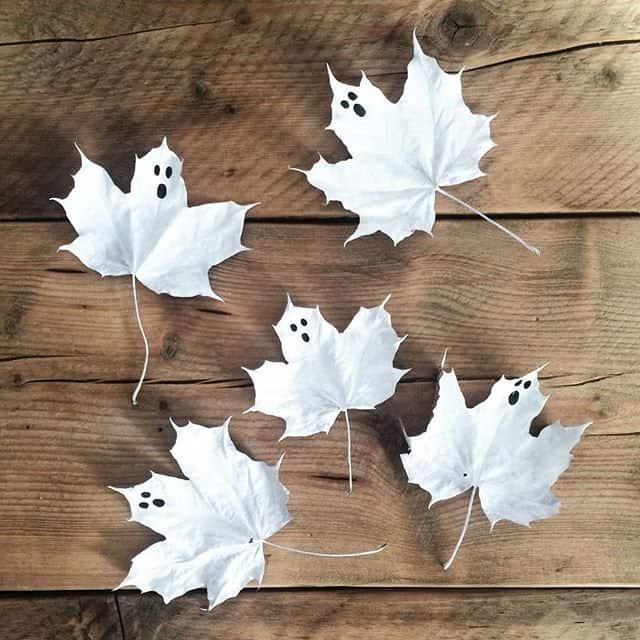 activitate cu frunze fantome din frunze