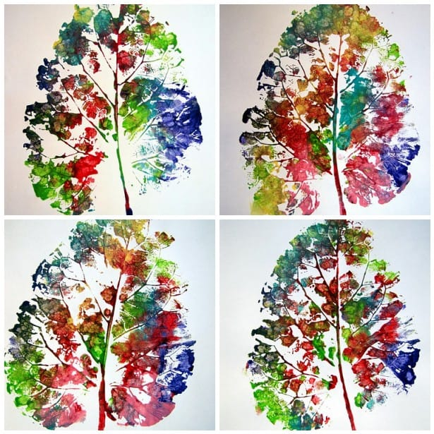 activitate cu frunze printuri cu frunze