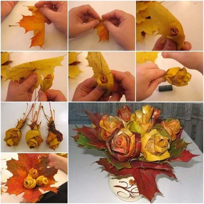 activitate cu frunze trandafiri din frunze