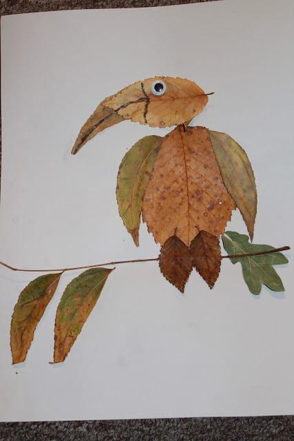 activitate cu frunze papagal din frunze