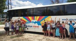 Tabara Internationala de Vara pe Insula Thassos, Grecia copii autocar